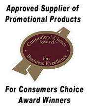 Approved supplier of promotional products for Consumers Choice Award Winners!