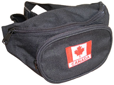 Nylon fanny waist pouch with Canada embroidered patch on front