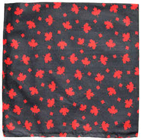 Canada Maple Leaf Bandana in black with red maple leaves
