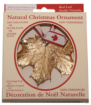 Gold Plated Maple Leaf Ornament