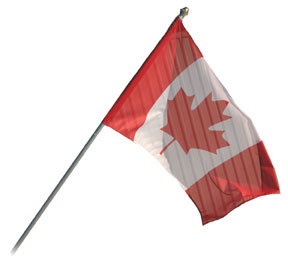 Canadian outdoor flag and wall-mount pole kit