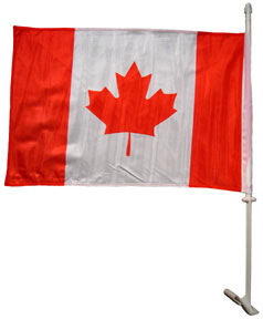 Canada window flag with plastic pole & mounting bracket