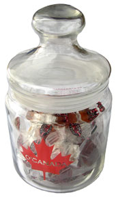 O'Canada Glass Jar filled with maple candies