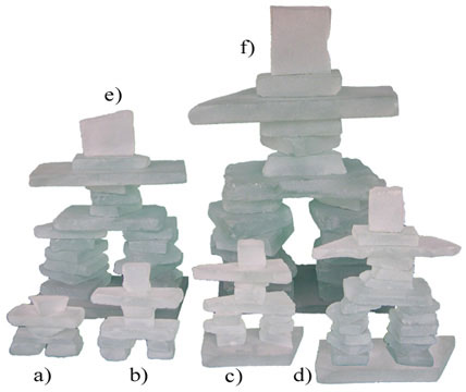 Inukshuks made from frosted glass in your choice of 6 sizes