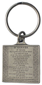 O'Canada Keychain with the National Anthem on the back
