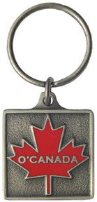 O'Canada Keychain with large maple leaf on the front