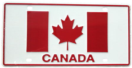 Canada License Plate (metal with Canadian flag)