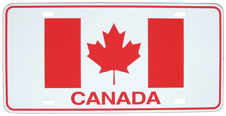 Canada License Plate (plastic with Canadian flag)