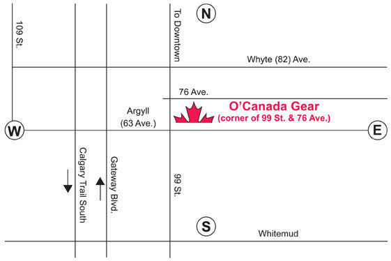 Map to get to O'Canada Gear's showroom in Edmonton