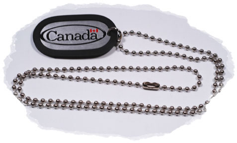 Canada Dog Tag Necklace with chain