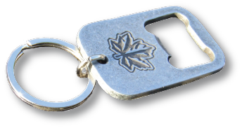 O'Canada Keychain with large maple leaf bottle opener