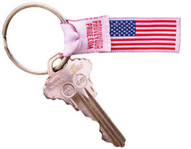 American 'Pride Ribbon' on a keychain