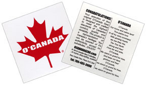 Window sticker with Canadian National Anthem on back
