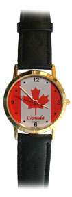 Men's Gold Canada Watch (flag)