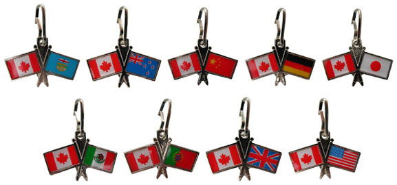 Canada Unity Zipper Pull (Canada + another country's flag)