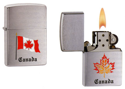 Zippo Canada Lighter with Canadian flag or maple leaf